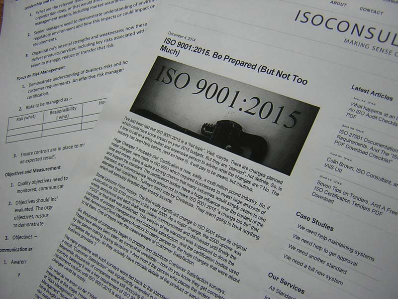 ISO 9001:2015. Action (and Inaction!) Points